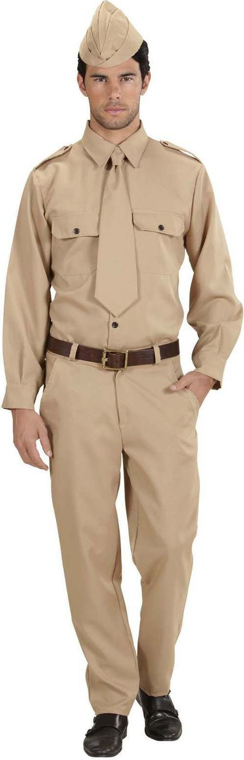 Mens Ww2 Soldier- (Shirt Pants Tie Hat) Army Outfit (Brown)