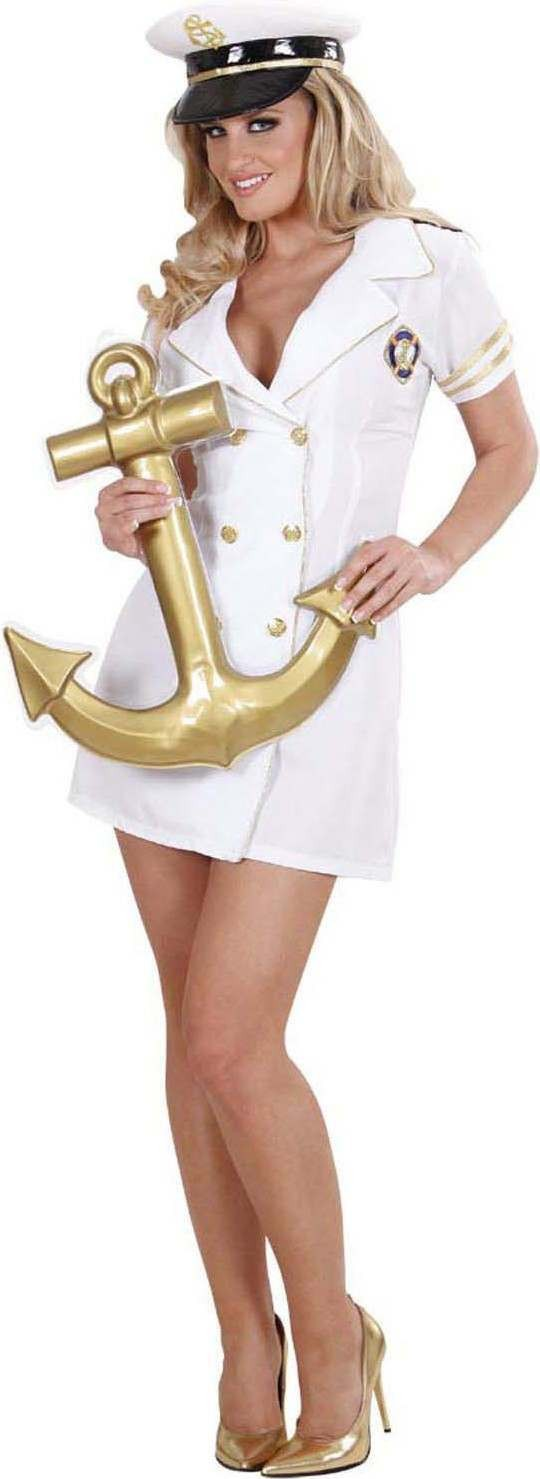 Ladies Captain Lady (Dress Hat) Pirates Outfit - (White)