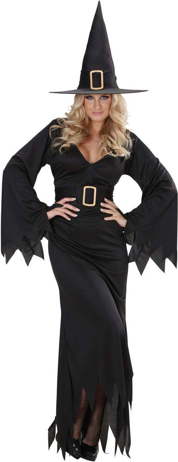 Ladies Elegant Witch (Dress Belt Hat) Halloween Outfit - (Black)