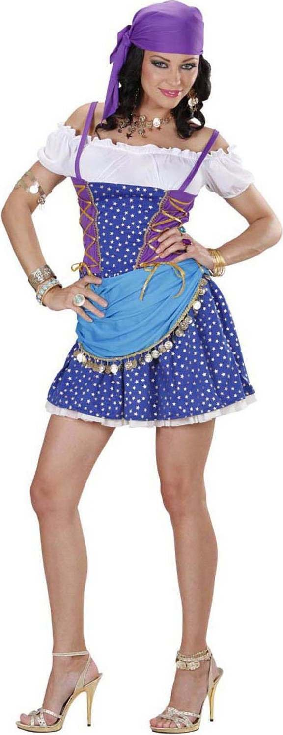 Ladies Light Blue Gipsy- (Dress Coin Bandana) Gipsy Outfit - (Blue)