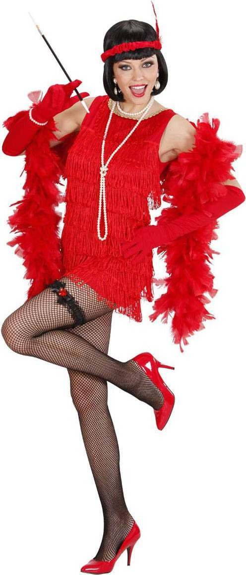 Ladies Deluxe Red Flapper 1920'S Outfit - (Red)