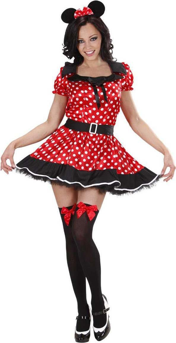 Ladies Mouse Girl Costume Animal Outfit - (Red)