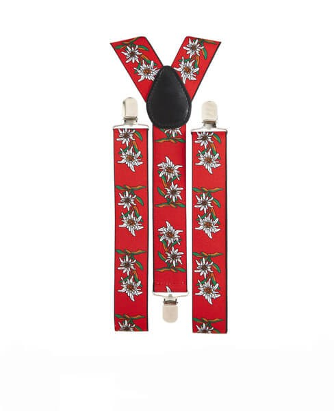 Red Edelweiss Patterned Braces (Oktoberfest/Bavarian) Fancy Dress Accessory