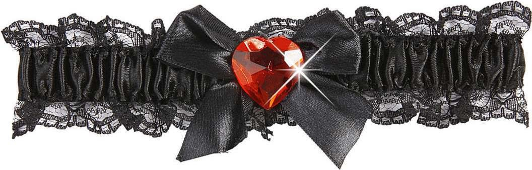 Black Garter W/Red Gem Accessories - (Red)