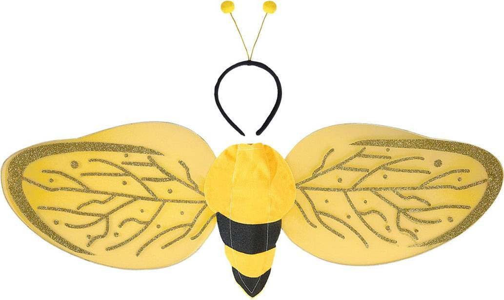 Adult Unisex Bee Dress Up Set - Wings & Antenna Accessories - (Yellow, Black)