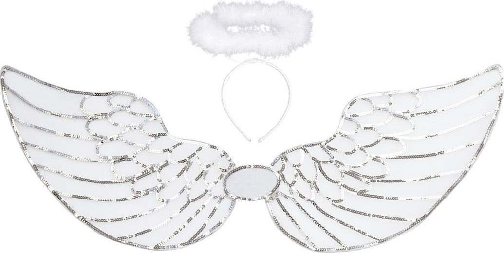 Adult Unisex Sequin Angel Dress Up Set Accessories - (White)