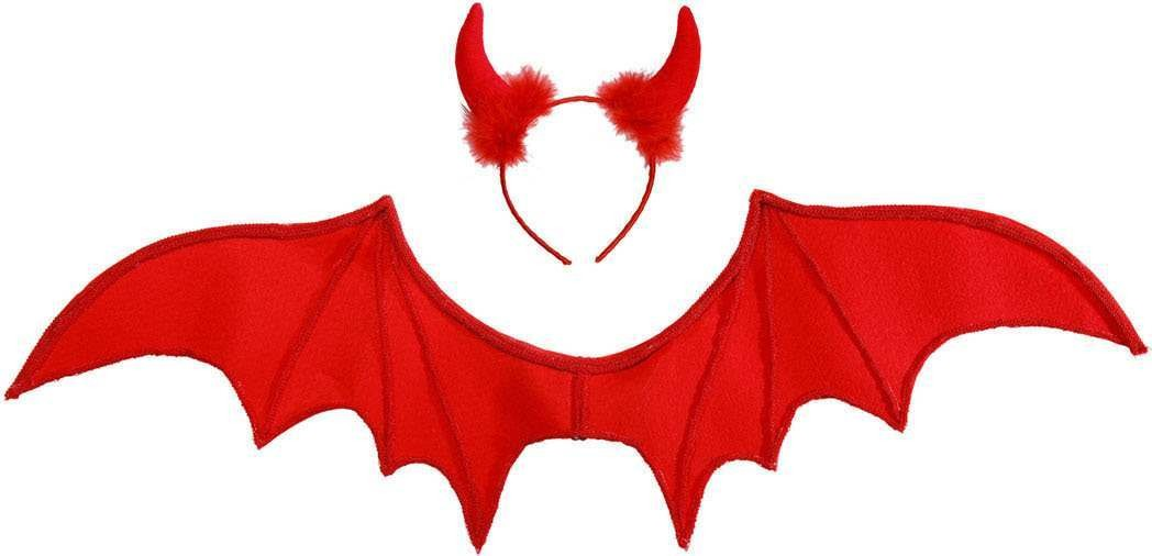 Adult Unisex Red Devil Dress Up Set Accessories - (Red)