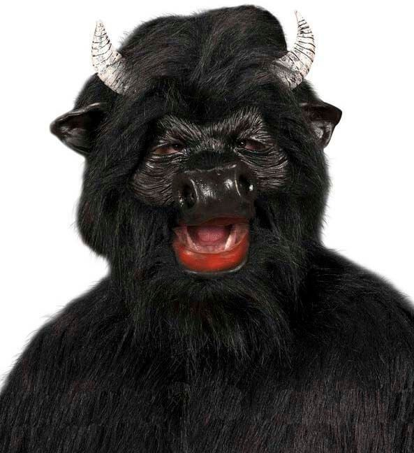 Black Bull Masks W/Plush Fur - Fancy Dress (Animals)