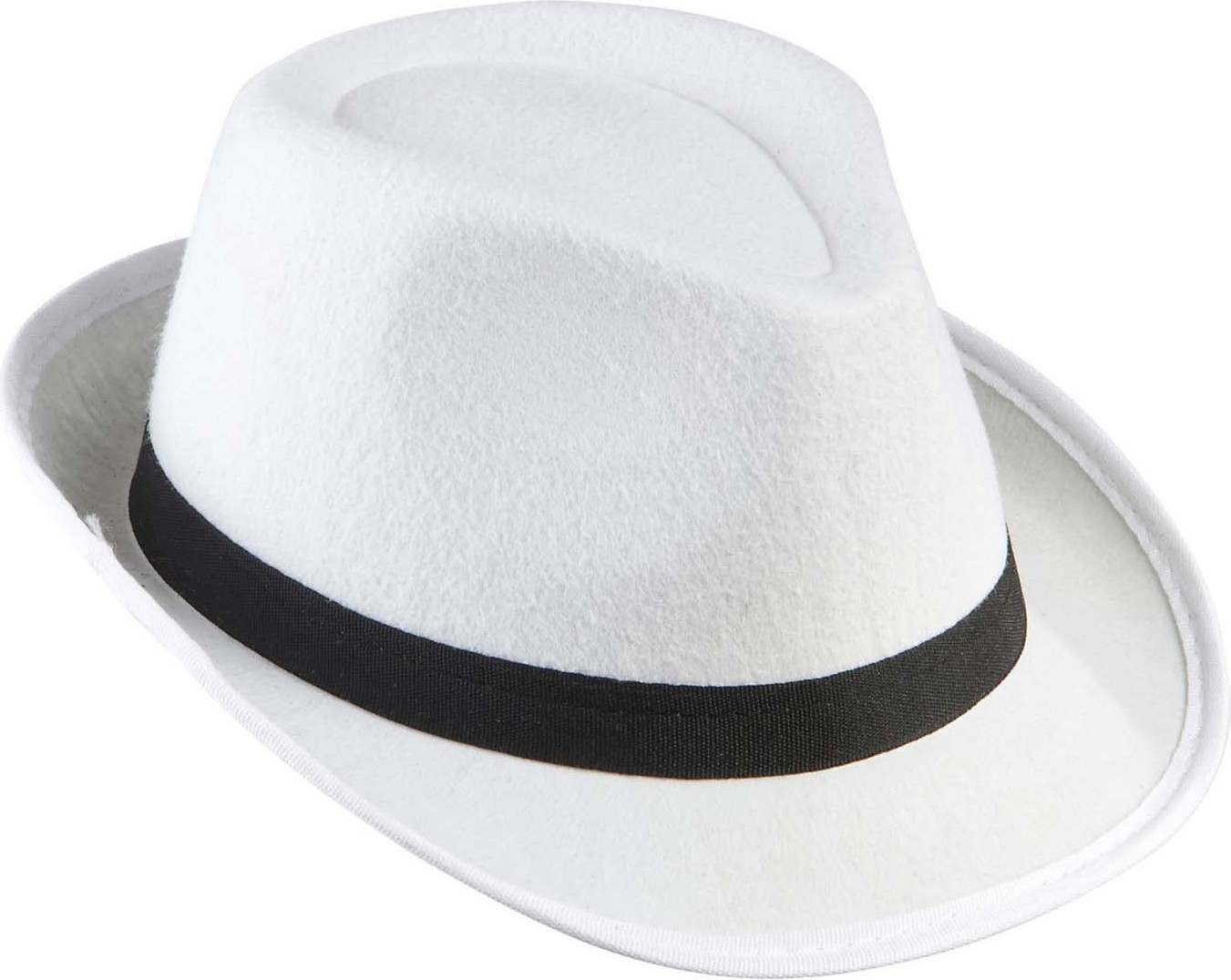 Adult Unisex Gangster Hat Felt White W/Black Band Hats - (Black)