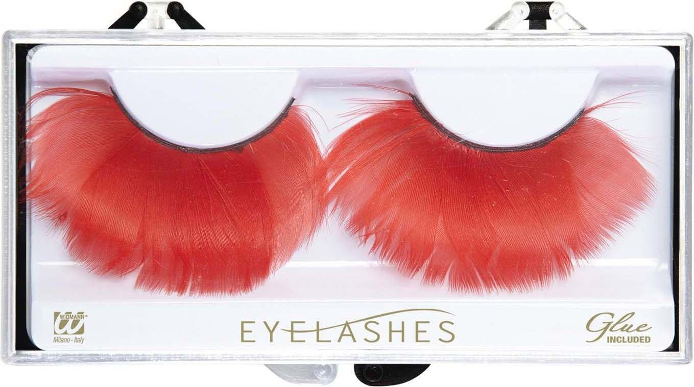 Red Feather Eyelashes (Glass Bottle Glue) Eyelashes - (Red)