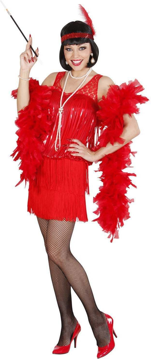 Ladies Red Roaring 20S Flapper (Dress Headband) 1920'S Outfit - Size 18-20 (Red)