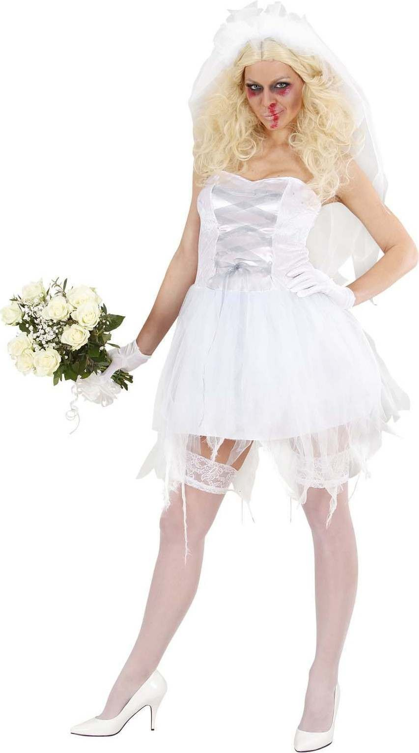 Ladies Zombie Bride- (Dress Veil Gloves) Halloween Outfit - (White)