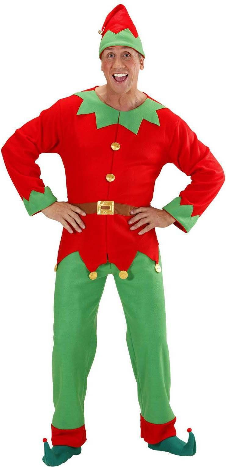 Mens Santas Little Helper Elf Man- (Coat Belt Pants Hat) Christmas