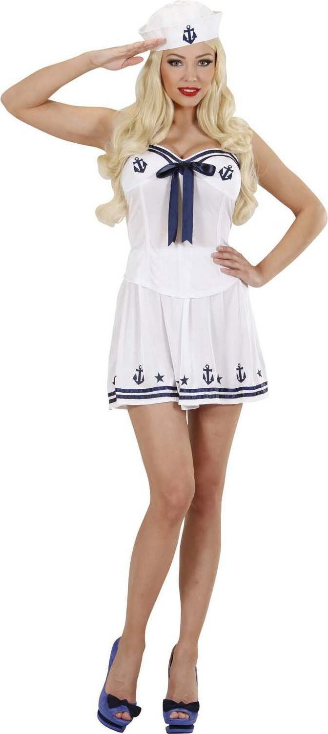 Ladies Sailor Girl- (Corset Skirt Hat) Sailor Outfit - (White)