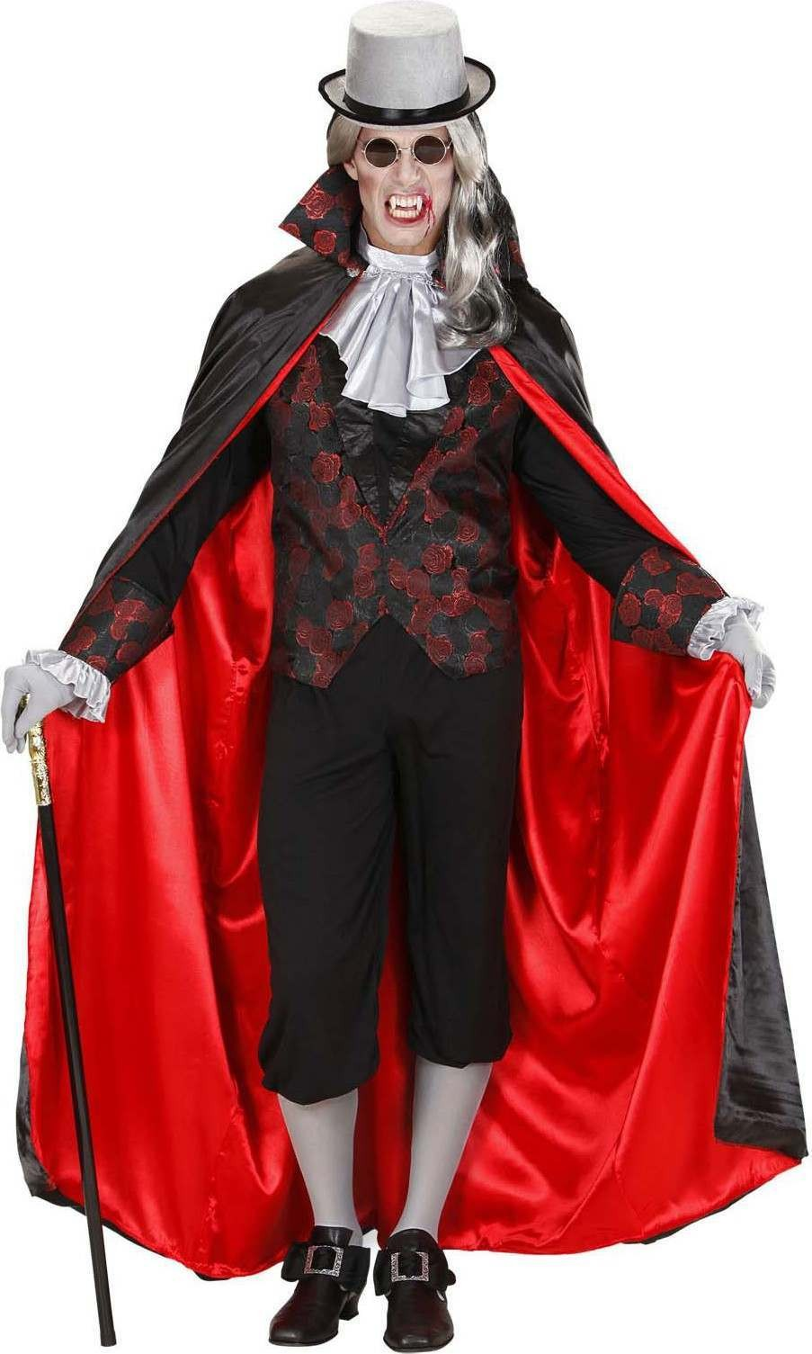 Mens Vampire- (Shirt W/Vest Jabot Cape) Halloween (Red, Black)