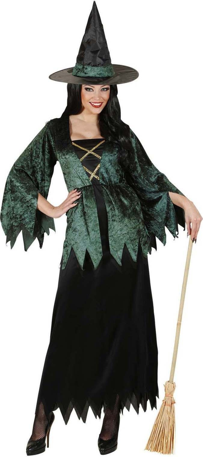 Ladies Witch- (Dress Hat) Halloween Outfit - (Black, Green)