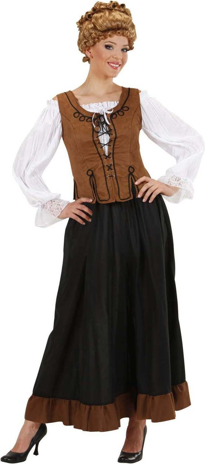 Ladies Peasant Girl- (Shirt Corset Skirt) Tudor - (Brown, Black)