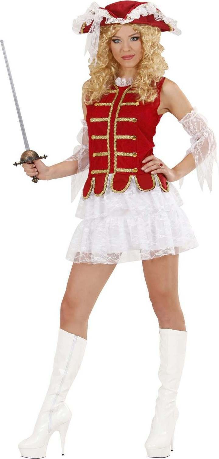 Ladies Musketeer Girl- (Dress Hat Sleeves) Musketeer - (Red,White)
