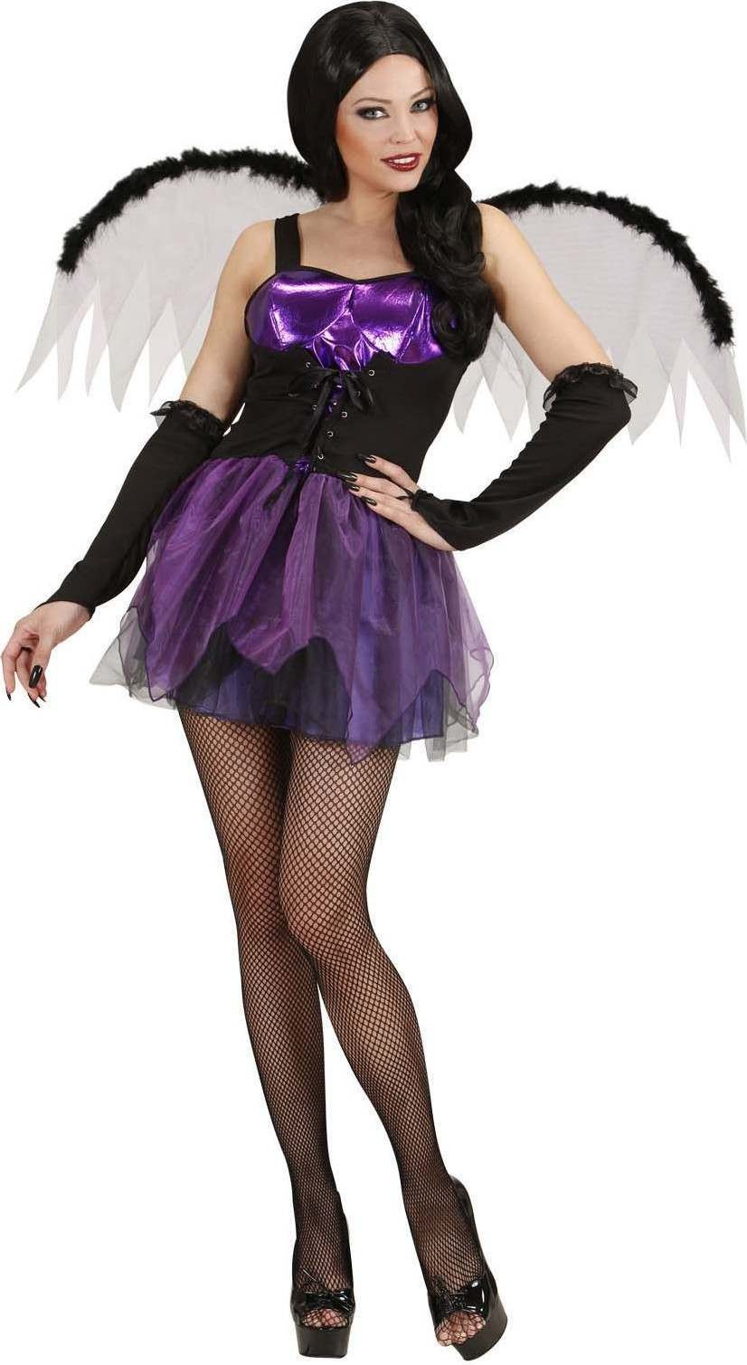 Ladies Gothic Fairy- (Dress Wings Gloves) Halloween Outfit - (Purple)