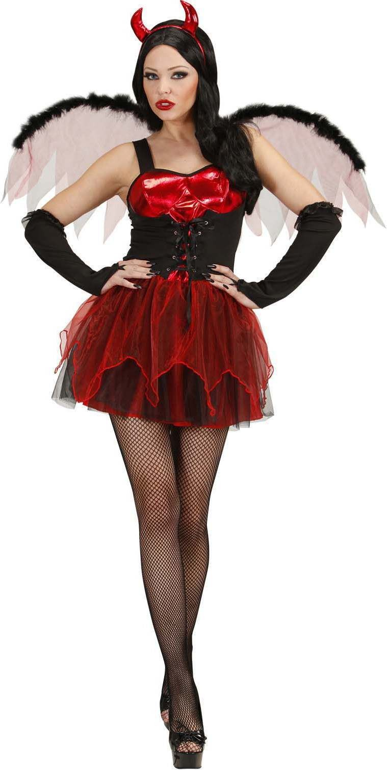 Ladies Devil- (Dress Wings Gloves Horns) Halloween Outfit - (Red)