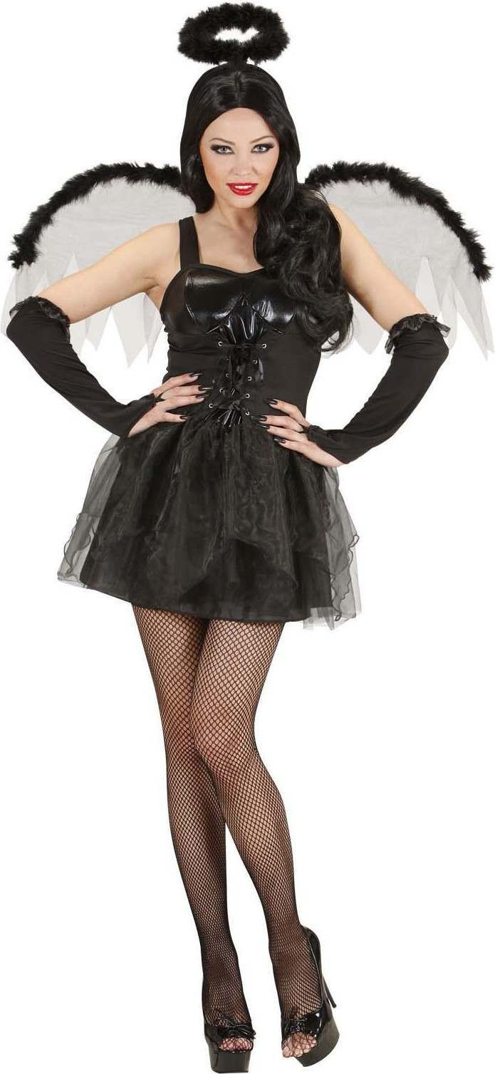 Ladies Black Angel- (Dress Wings Gloves Halo) Angel Outfit - (Black)