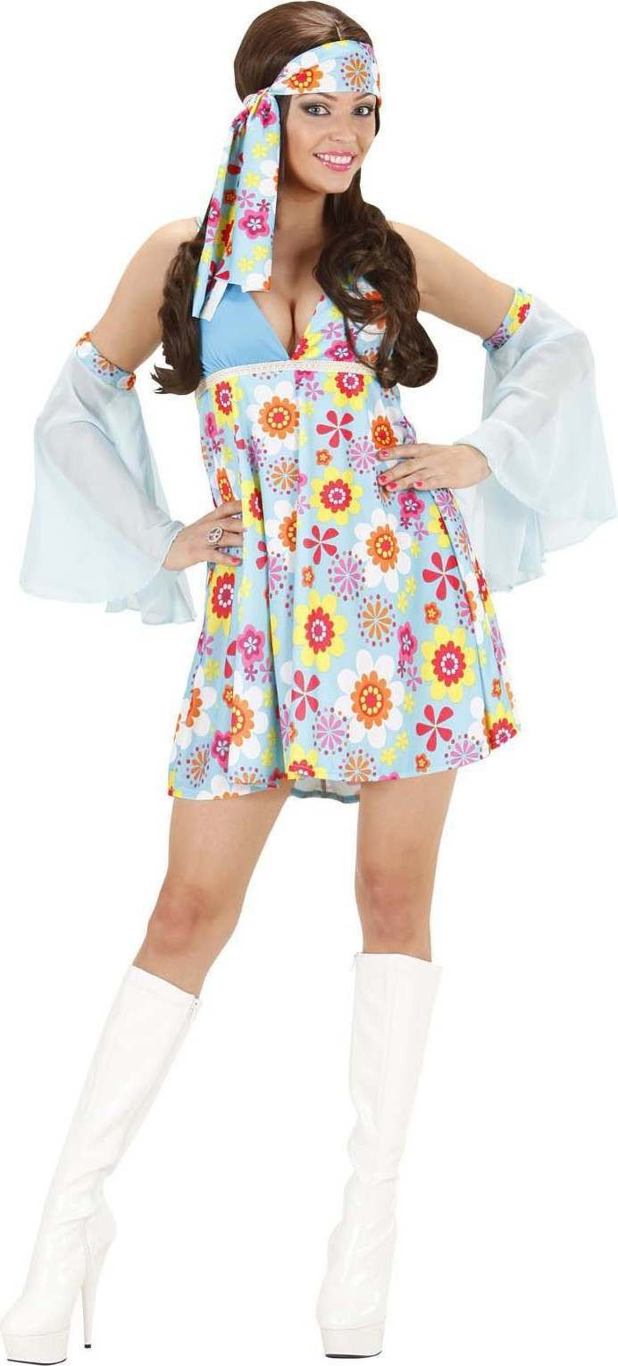 Ladies 70S Girl - Light Blue- (Dress Sleeves) Hippy Outfit - (Blue)