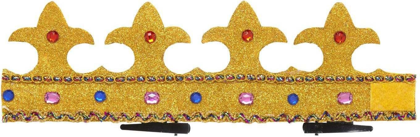 Mini Glitter Crowns W/Gems (Fleur Cross Top Bendy) Hats