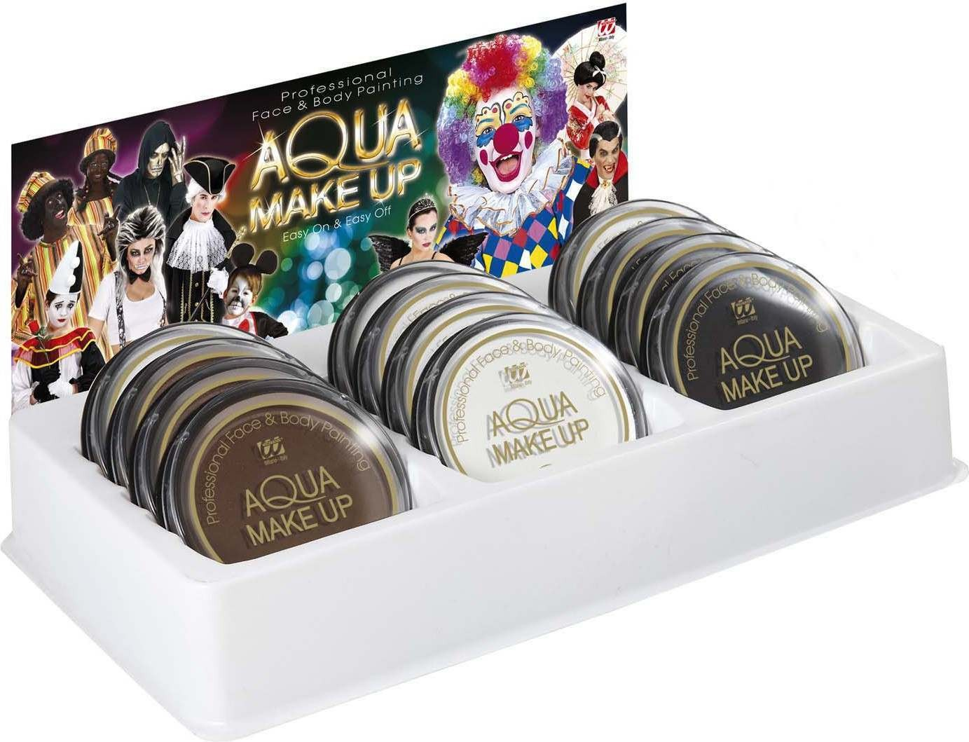Aqua Makeup 30G - Display Of 12 (6 White 3 Black 3 Brown) Makeup