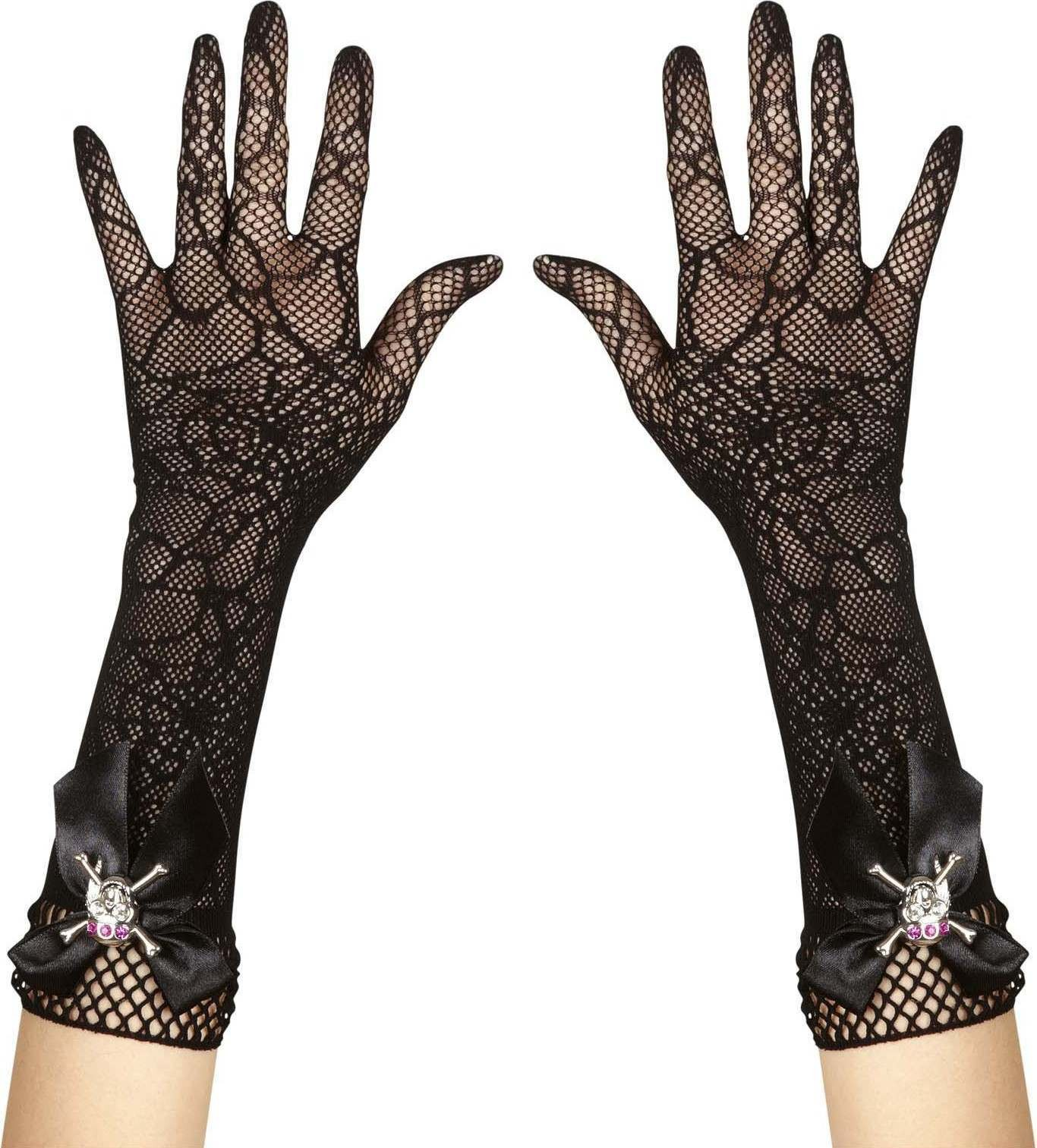 Strass Skull Spidermesh Gloves Gloves