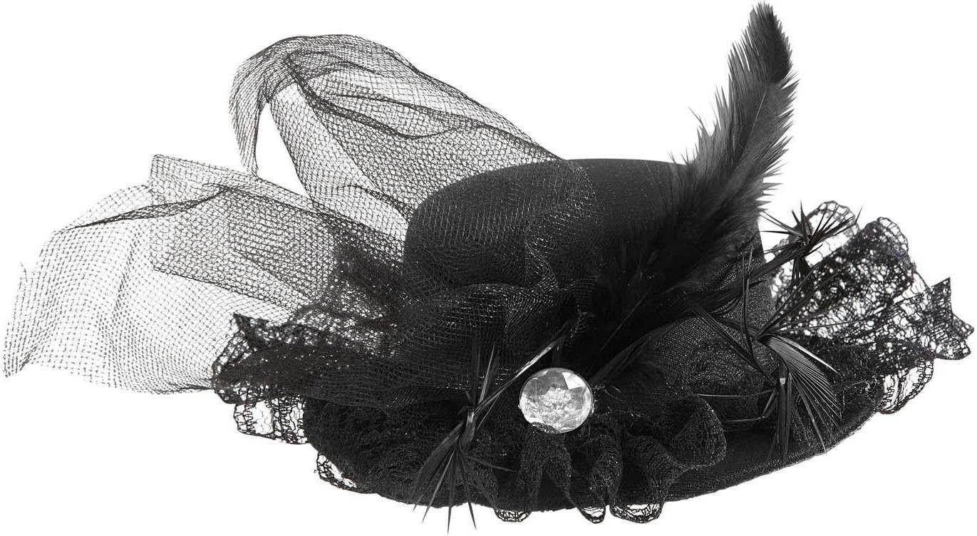 Black Mini Top Hats W/ Diamante Tulle & Feathers Hats