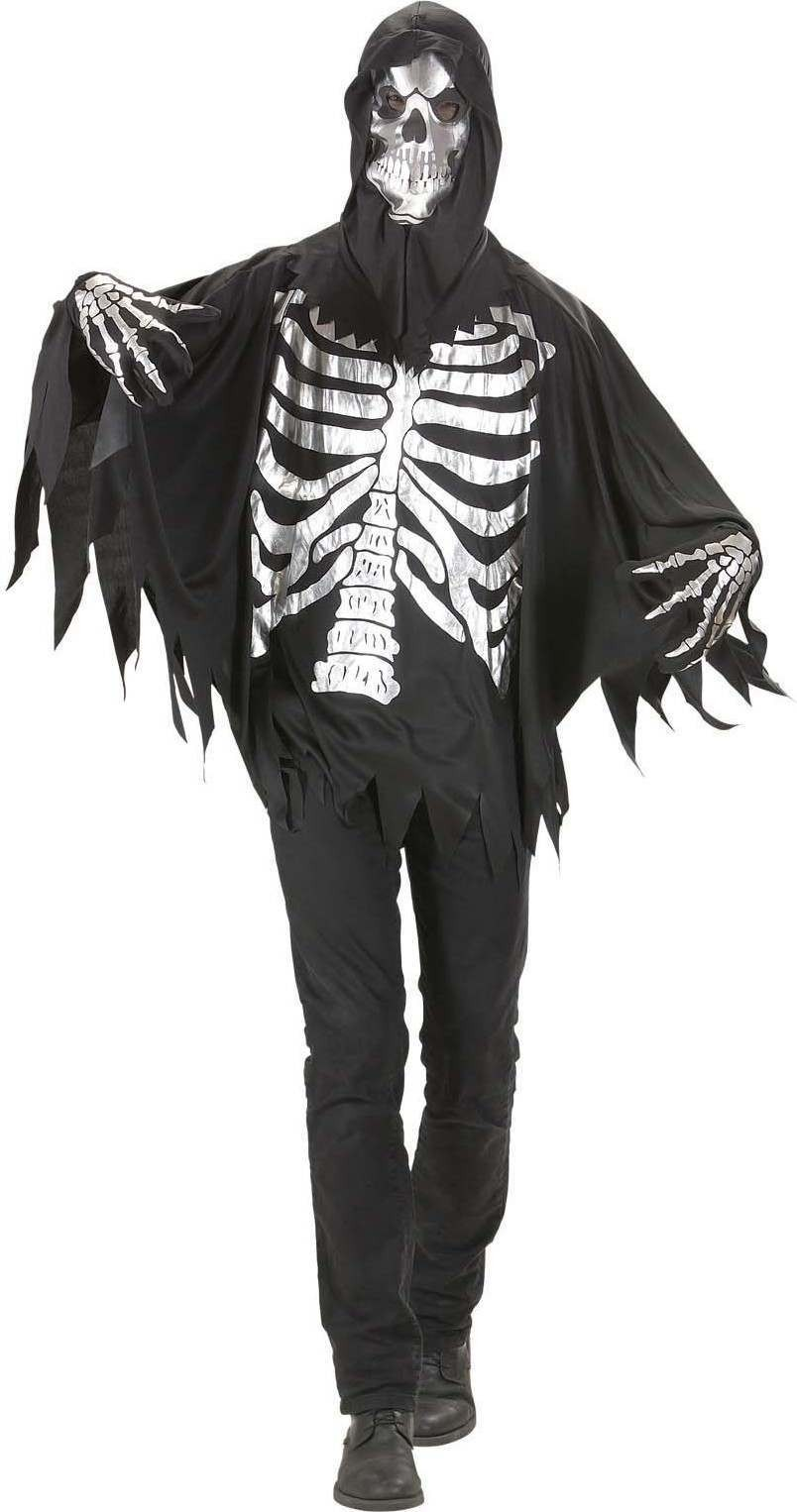 Mens Grim Reaper- (Coat Gloves Hooded Mask) Halloween Outfit - (Black, White)