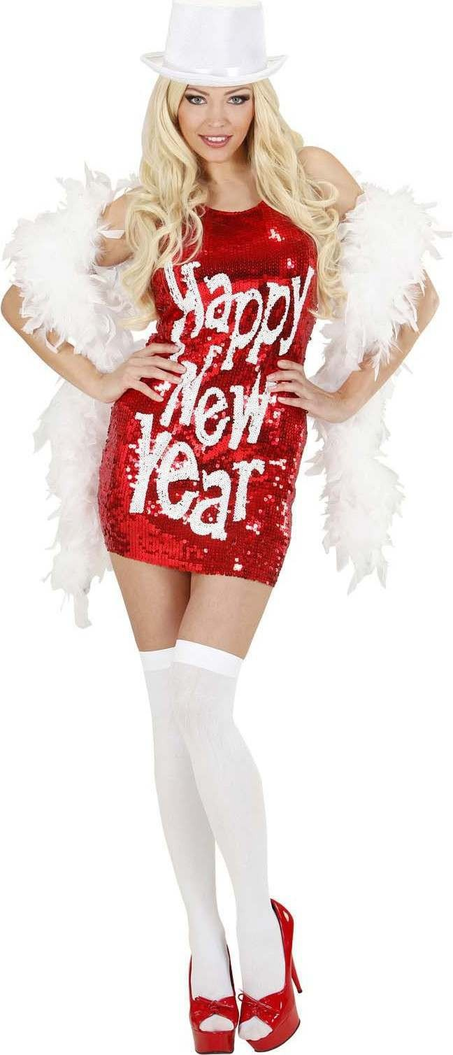 Ladies Sequin Dress Happy New Year Outfit - (Red)