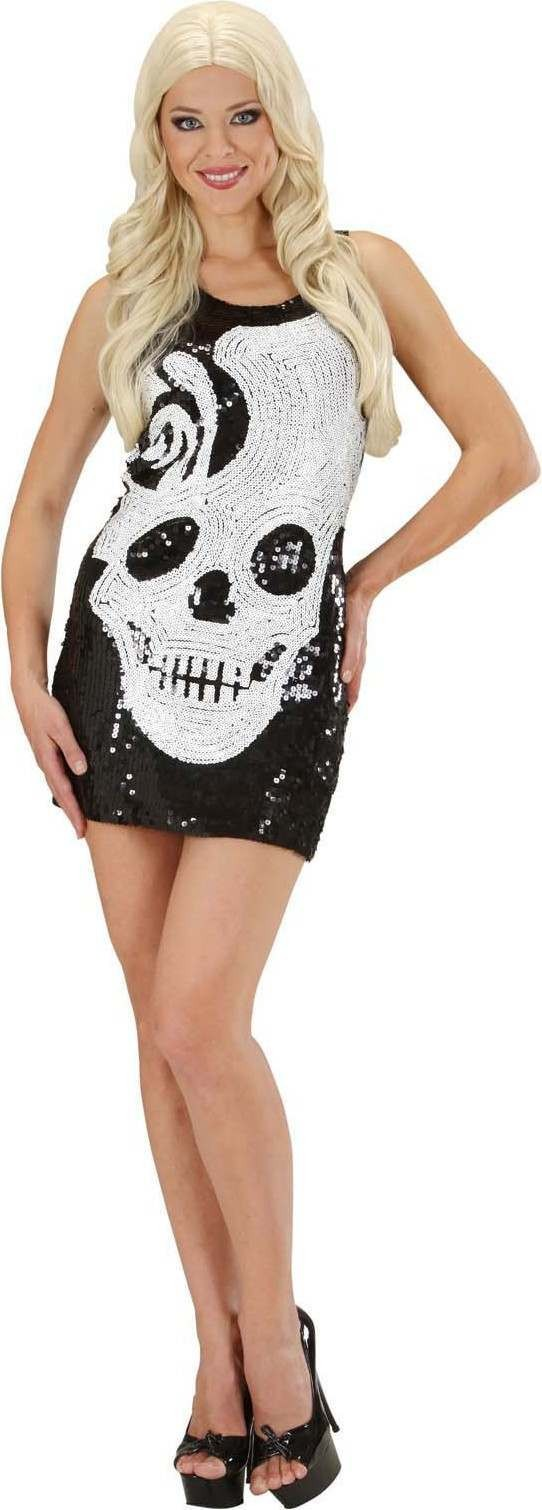 Ladies Sequin Dress Skulls Halloween Outfit - (Black)