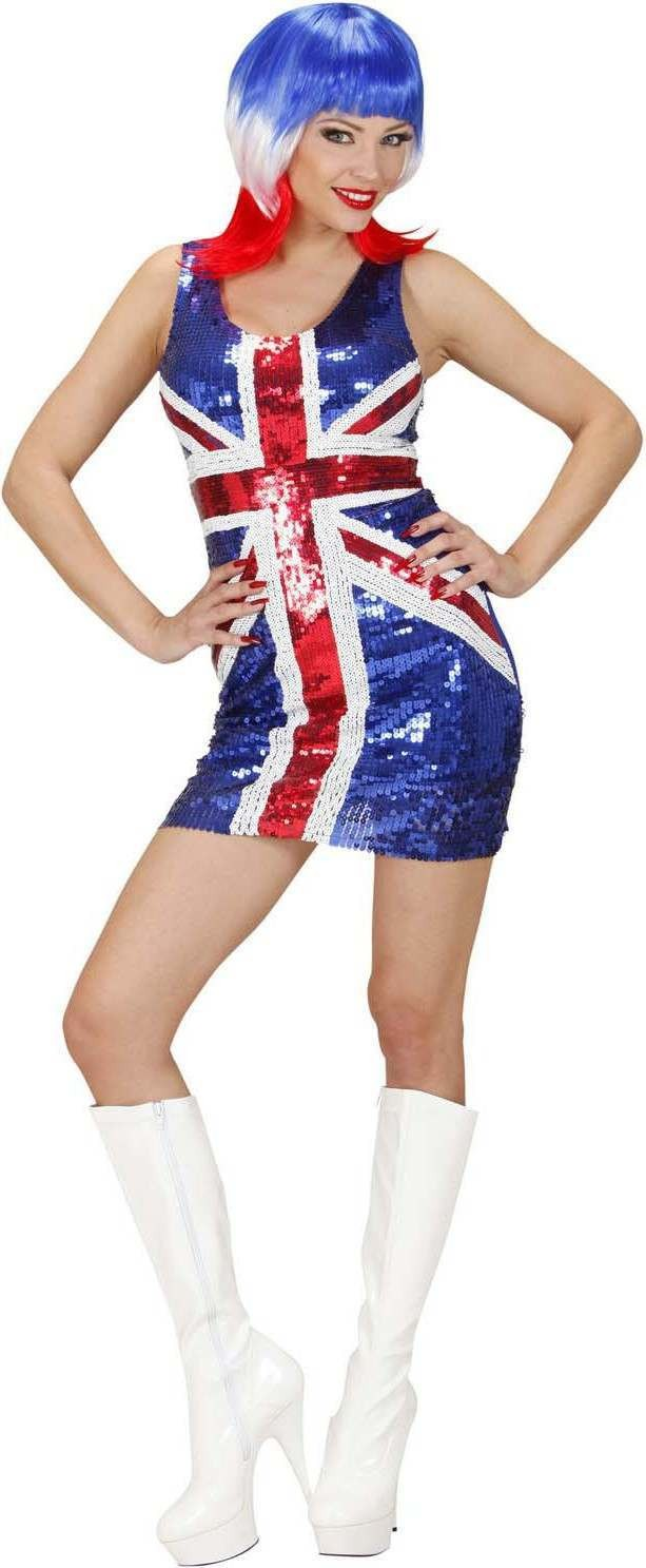 Ladies Sequin Dress Miss Uk Outfit - (Red, White, Blue)