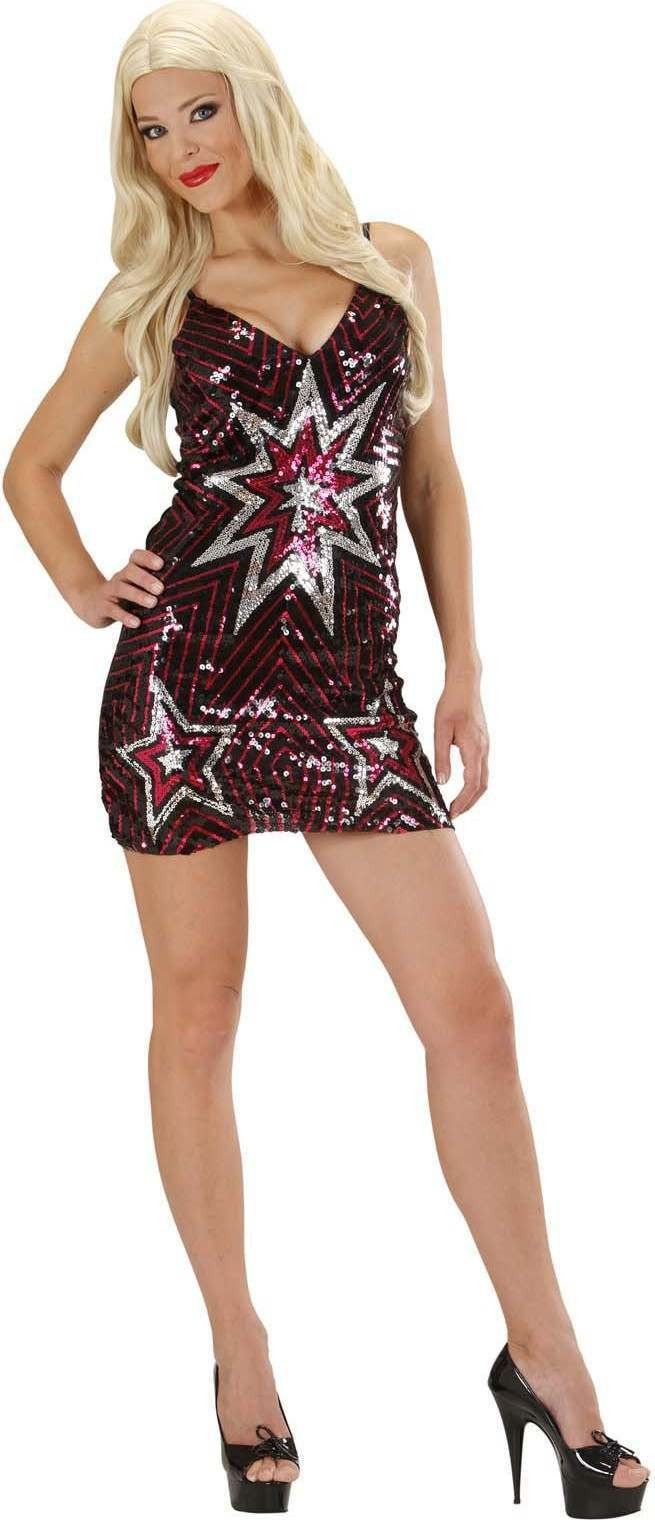 Ladies Sequin Dress Stars Outfit - (Red)