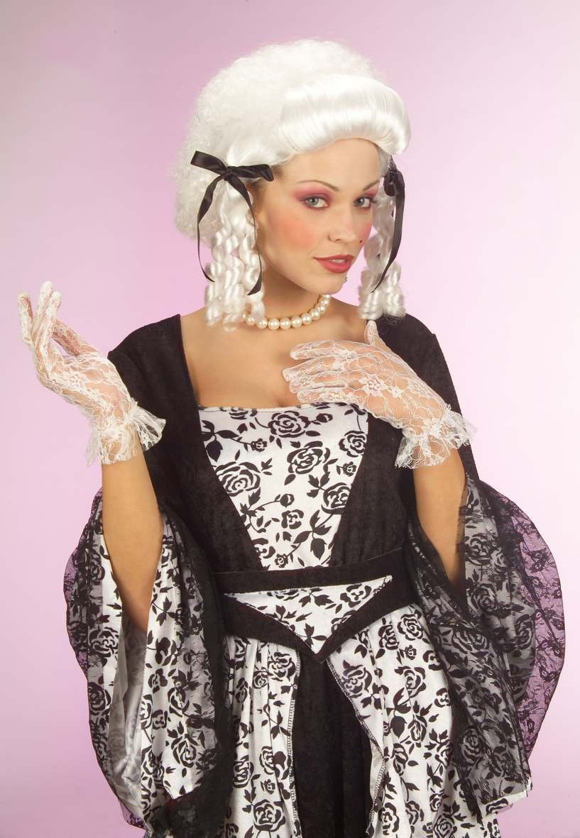 Colonial Lady Wig W/Blk Ribbons Boxed - Fancy Dress
