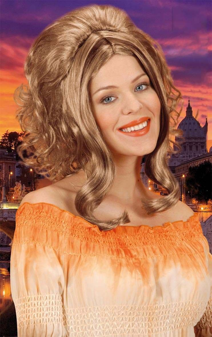 Catherine Wig Blonde W/Brown Streaks - Fancy Dress