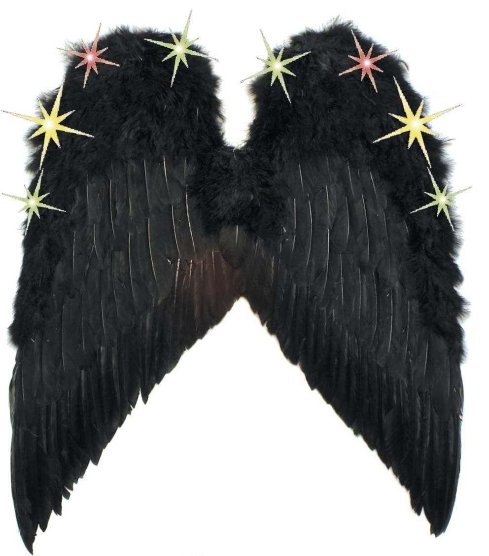 Light Up Feather Wings Black Or Red - Fancy Dress