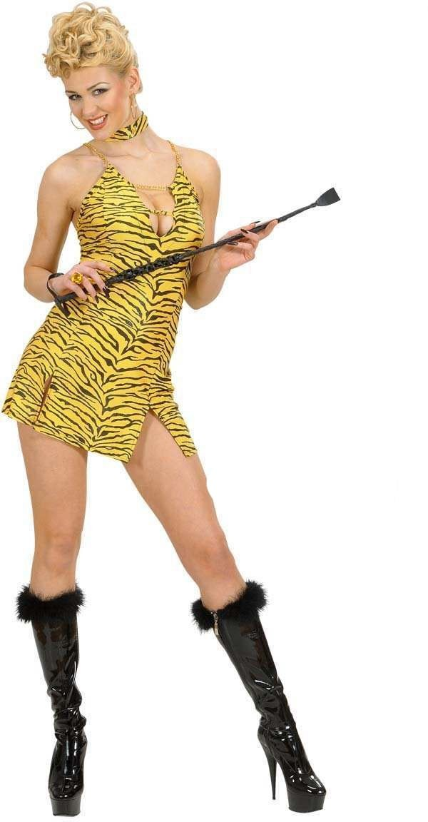 Tiger Dress And Choker Fancy Dress Costume Ladies (Animals)