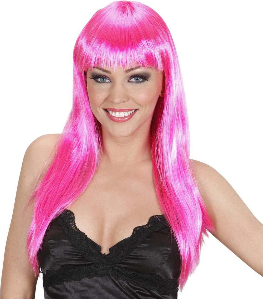 Ladies Beautiful Wig - Hot Pink Wigs - (Pink)