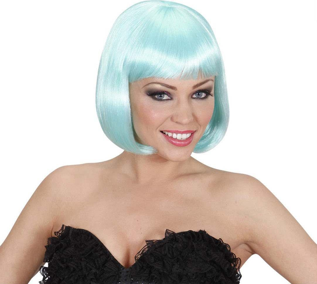Ladies Lovely Wig - Turquoise Wigs - (Turquoise, Blue)