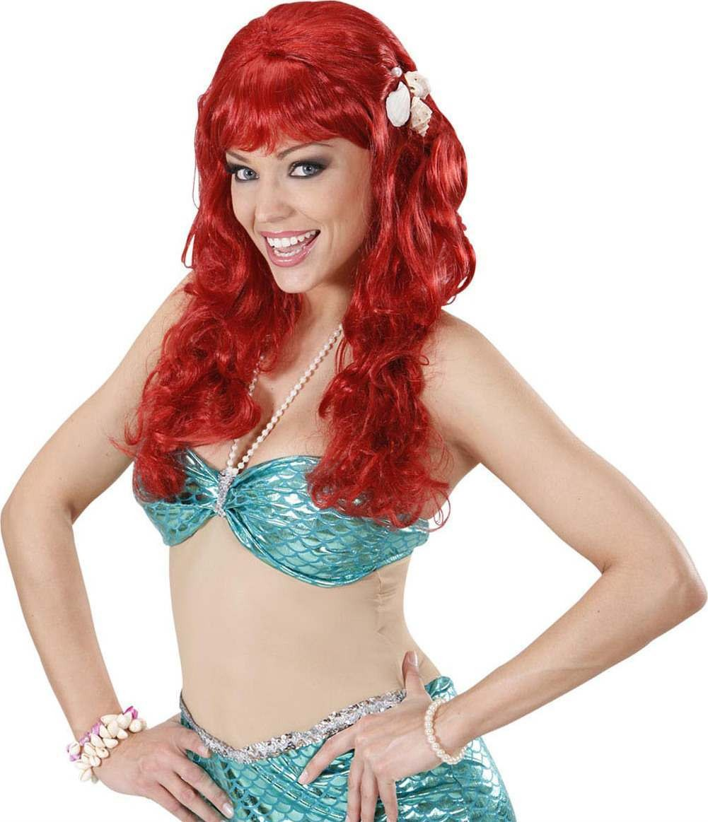 Ladies Mermaid Wig W/Shells - Red Wigs - (Red)