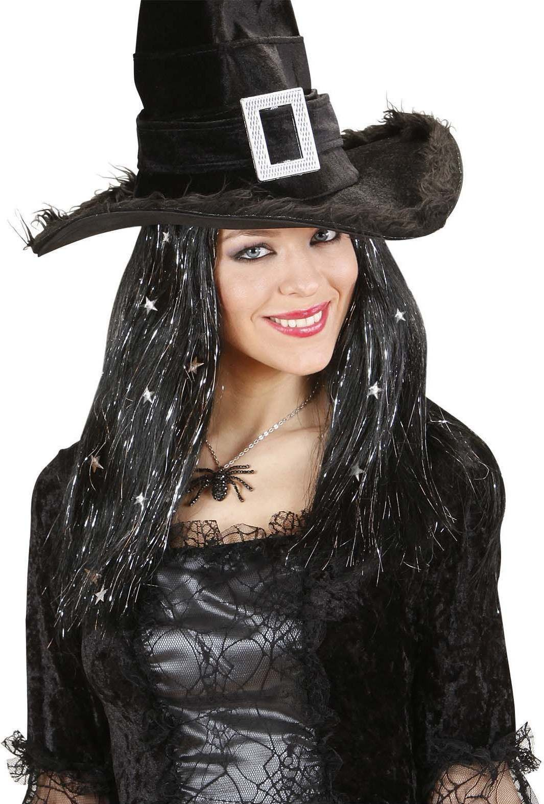 Ladies Witch Wig W/ Silver Tinsel & Stars Boxed Wigs - (Black)