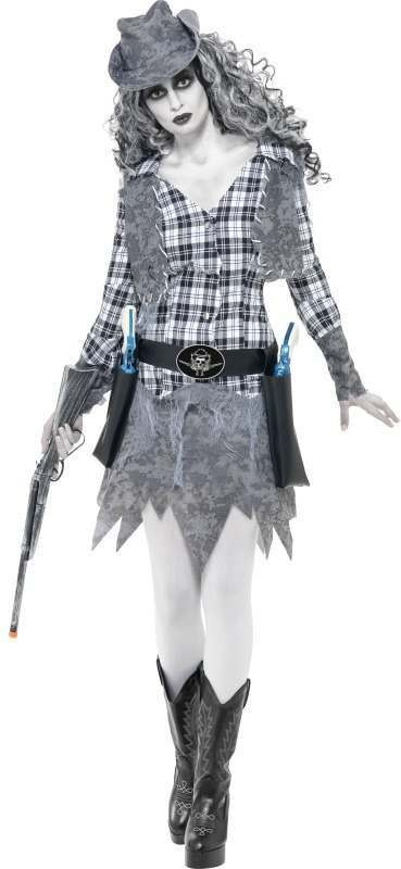 Ladies Ghost Town Cowgirl Costume Halloween Outfit (Grey)
