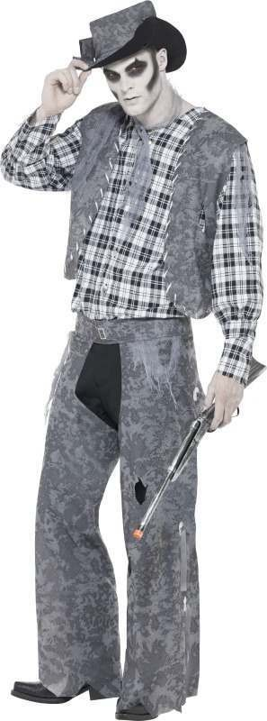 Mens Ghost Town Cowboy Costume Halloween Outfit (Grey)