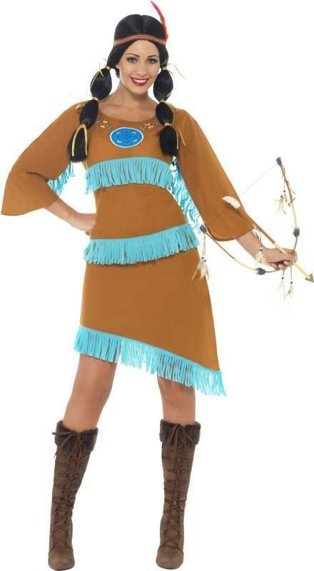 Ladies Indian Princess Costume Cowboys/Indians Outfit (Brown)
