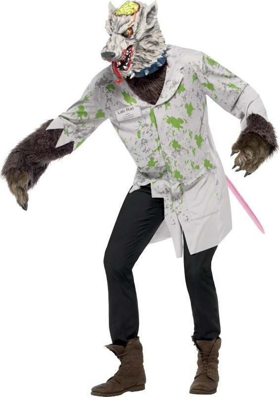 Mens Experiment Lab Rat Costume Halloween Outfit (White)