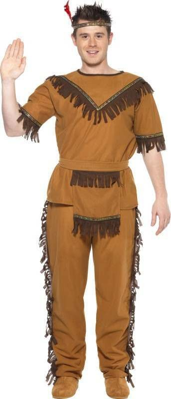 Mens Indian Brave Costume Cowboys/Indians Outfit (Brown)