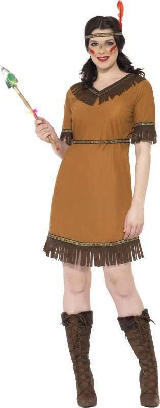 Ladies Indian Maiden Costume Cowboys/Indians Outfit (Brown)