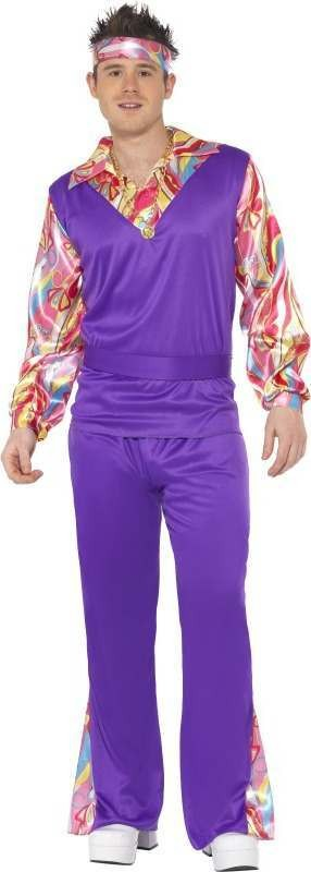 Mens Hippy Costume Hippy Outfit (Purple)